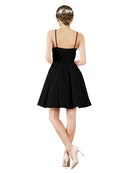 Mila Gowns Addison Short A-Line Halter Satin Black Bridesmaid Dress Knee Length Open Back Sleeveless 174049