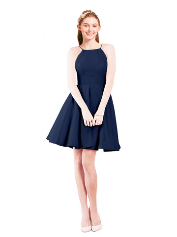 Mila Gowns Addison Short A-Line Halter Satin Dark Navy Bridesmaid Dress Knee Length Open Back Sleeveless 174049