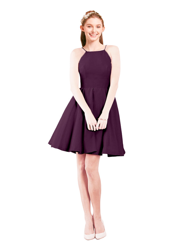 Mila Gowns Addison Short A-Line Halter Satin Grape Bridesmaid Dress Knee Length Open Back Sleeveless 174049