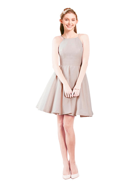 Mila Gowns Addison Short A-Line Halter Satin Lavender Blush Bridesmaid Dress Knee Length Open Back Sleeveless 174049