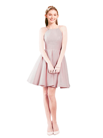 Mila Gowns Addison Short A-Line Halter Satin Pink Bridesmaid Dress Knee Length Open Back Sleeveless 174049