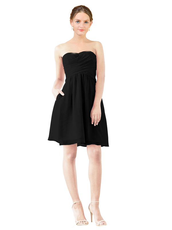 Mila Gowns Avery Short A-Line Strapless Sweetheart Chiffon Black Bridesmaid Dress Knee Length Open Back Sleeveless 174030
