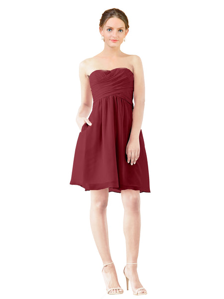 Mila Gowns Avery Short A-Line Strapless Sweetheart Chiffon Burgundy Bridesmaid Dress Knee Length Open Back Sleeveless 174030