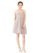 Mila Gowns Avery Short A-Line Strapless Sweetheart Chiffon Champagne 42 Bridesmaid Dress Knee Length Open Back Sleeveless 174030