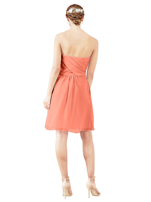 Mila Gowns Avery Short A-Line Strapless Sweetheart Chiffon Coral Bridesmaid Dress Knee Length Open Back Sleeveless 174030