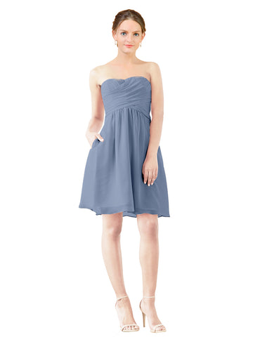 Mila Gowns Avery Short A-Line Strapless Sweetheart Chiffon Dusty Blue Bridesmaid Dress Knee Length Open Back Sleeveless 174030