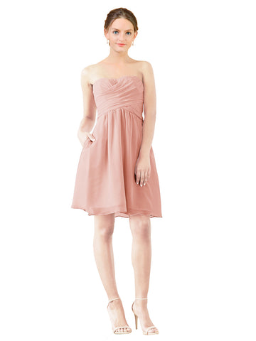 Mila Gowns Avery Short A-Line Strapless Sweetheart Chiffon Ice Pink Bridesmaid Dress Knee Length Open Back Sleeveless 174030