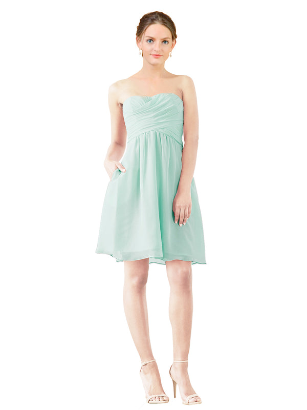 Mila Gowns Avery Short A-Line Strapless Sweetheart Chiffon Mint Green Bridesmaid Dress Knee Length Open Back Sleeveless 174030