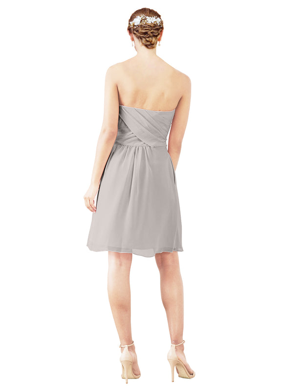 Mila Gowns Avery Short A-Line Strapless Sweetheart Chiffon Oyster Silver Bridesmaid Dress Knee Length Open Back Sleeveless 174030