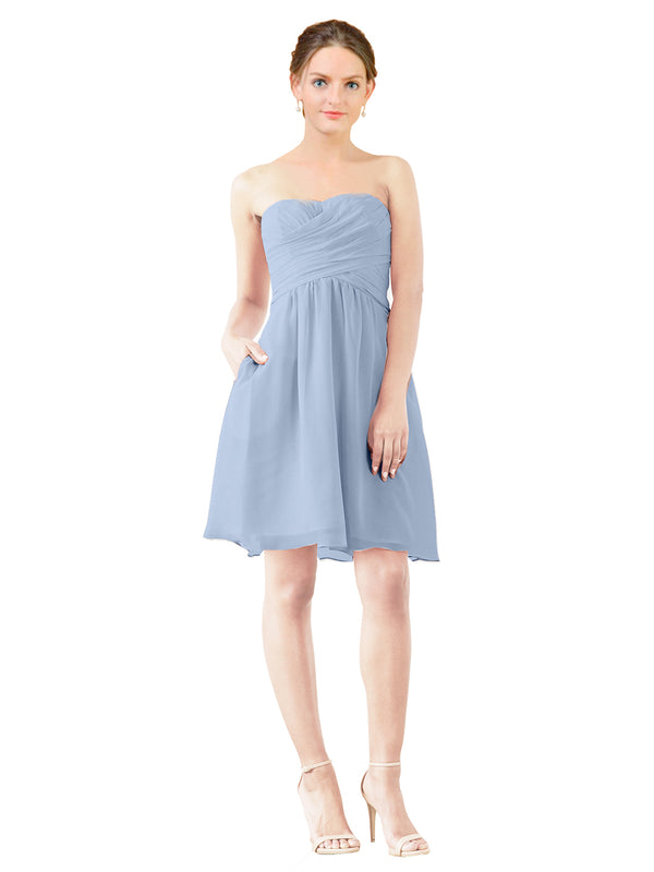 Mila Gowns Avery Short A-Line Strapless Sweetheart Chiffon Periwinkle Bridesmaid Dress Knee Length Open Back Sleeveless 174030