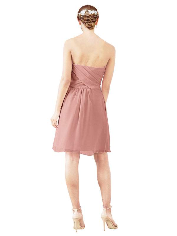 Mila Gowns Avery Short A-Line Strapless Sweetheart Chiffon Salmon Bridesmaid Dress Knee Length Open Back Sleeveless 174030