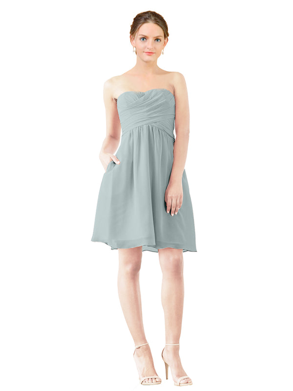 Mila Gowns Avery Short A-Line Strapless Sweetheart Chiffon Seaside Bridesmaid Dress Knee Length Open Back Sleeveless 174030