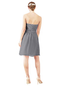 Mila Gowns Avery Short A-Line Strapless Sweetheart Chiffon Slate Grey Bridesmaid Dress Knee Length Open Back Sleeveless 174030
