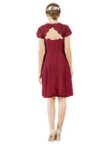 Mila Gowns Brooklyn Short A-Line Scoop Lace Burgundy Bridesmaid Dress Knee Length Keyhole Cap Sleeves 174054