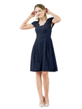 Mila Gowns Brooklyn Short A-Line Scoop Lace Dark Navy Bridesmaid Dress Knee Length Keyhole Cap Sleeves 174054