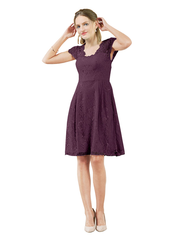 Mila Gowns Brooklyn Short A-Line Scoop Lace Grape Bridesmaid Dress Knee Length Keyhole Cap Sleeves 174054
