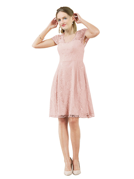 Mila Gowns Brooklyn Short A-Line Scoop Lace Pink Bridesmaid Dress Knee Length Keyhole Cap Sleeves 174054