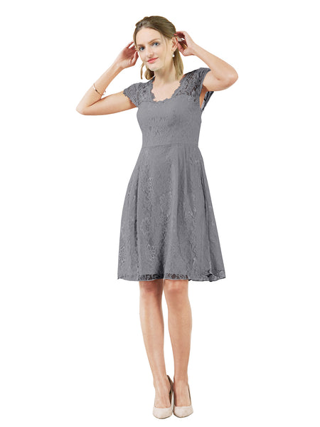 Mila Gowns Brooklyn Short A-Line Scoop Lace Slate Grey Bridesmaid Dress Knee Length Keyhole Cap Sleeves 174054