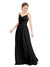 Mila Gowns Camila Long A-Line V-Neck Chiffon & Lace Black Bridesmaid Dress V Back Open Back Sleeveless 174039