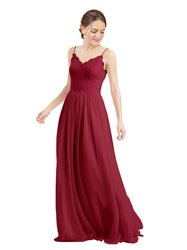 Mila Gowns Camila Long A-Line V-Neck Chiffon & Lace Burgundy Bridesmaid Dress V Back Open Back Sleeveless 174039