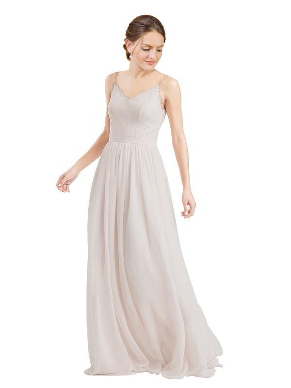Mila Gowns Camila Long A-Line V-Neck Chiffon & Lace Champagne 42 Bridesmaid Dress V Back Open Back Sleeveless 174039