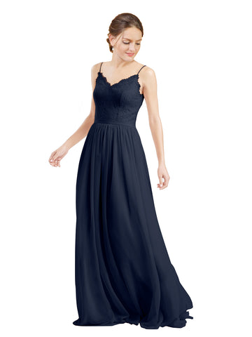 Mila Gowns Camila Long A-Line V-Neck Chiffon & Lace Dark Navy Bridesmaid Dress V Back Open Back Sleeveless 174039