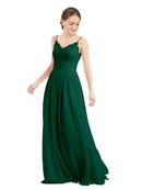 Mila Gowns Camila Long A-Line V-Neck Chiffon & Lace Ever Green Bridesmaid Dress V Back Open Back Sleeveless 174039
