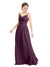 Mila Gowns Camila Long A-Line V-Neck Chiffon & Lace Grape Bridesmaid Dress V Back Open Back Sleeveless 174039