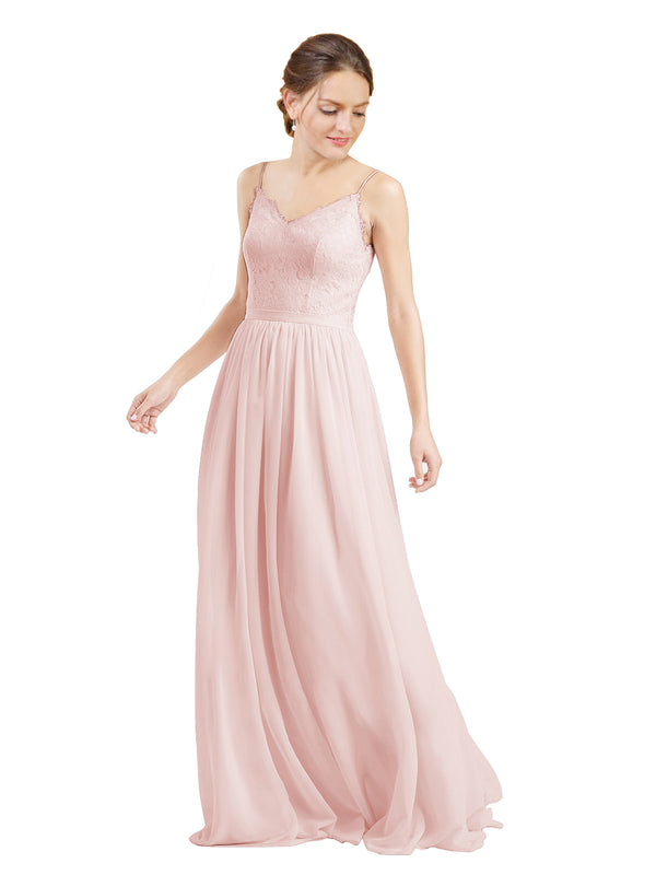 Mila Gowns Camila Long A-Line V-Neck Chiffon & Lace Ice Pink Bridesmaid Dress V Back Open Back Sleeveless 174039