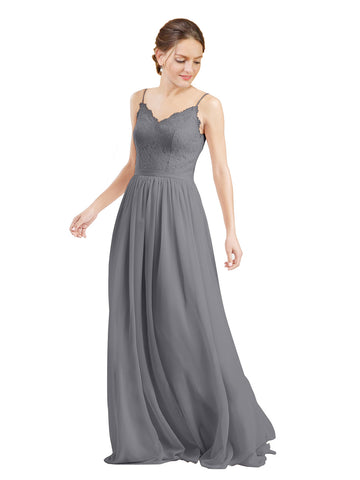 Mila Gowns Camila Long A-Line V-Neck Chiffon & Lace Slate Grey Bridesmaid Dress V Back Open Back Sleeveless 174039