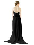 Mila Gowns Emily Long A-Line Sweetheart Chiffon Black Bridesmaid Dress Floor Length Open Back Sleeveless 174028