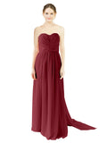 Mila Gowns Emily Long A-Line Sweetheart Chiffon Burgundy Bridesmaid Dress Floor Length Open Back Sleeveless 174028