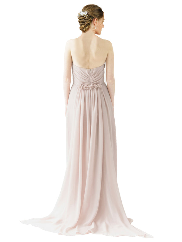 Mila Gowns Emily Long A-Line Sweetheart Chiffon Champagne 42 Bridesmaid Dress Floor Length Open Back Sleeveless 174028