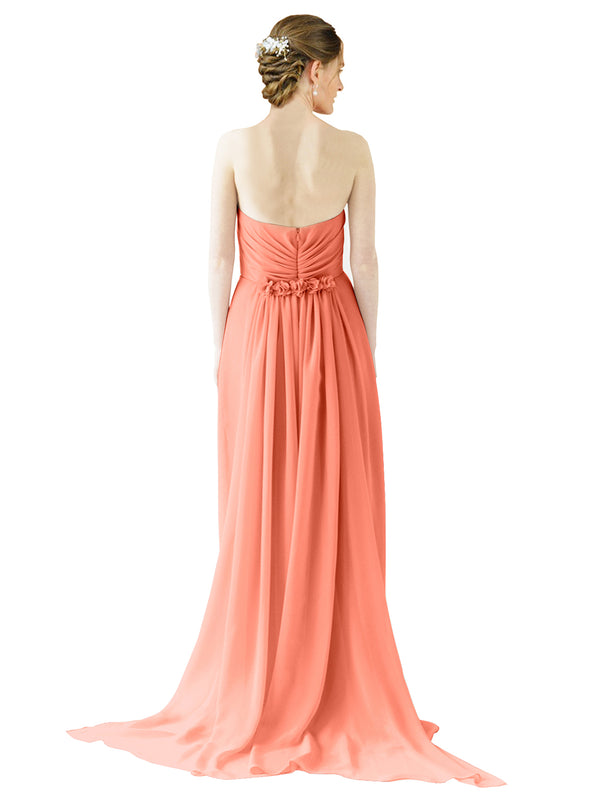 Mila Gowns Emily Long A-Line Sweetheart Chiffon Coral Bridesmaid Dress Floor Length Open Back Sleeveless 174028