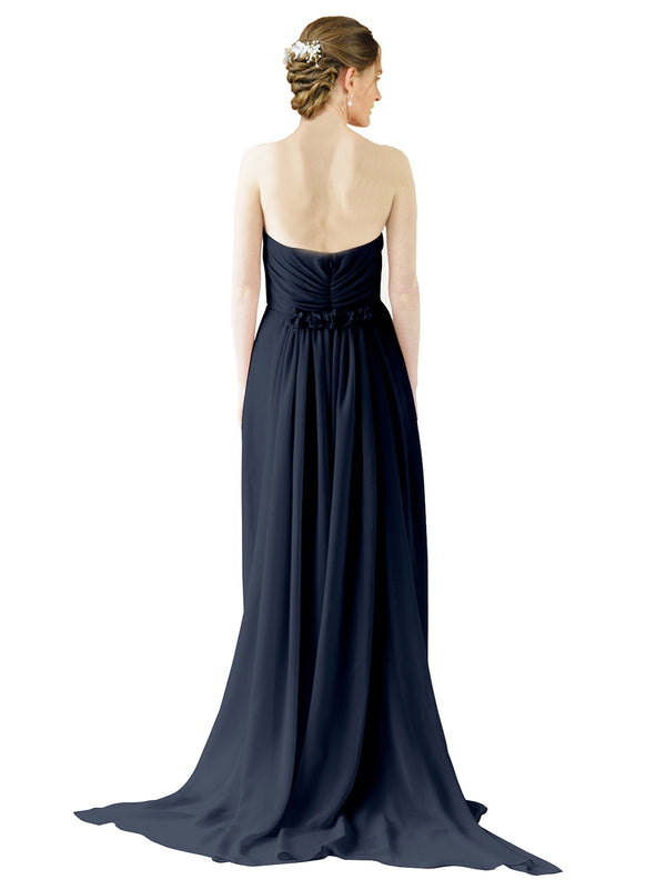Mila Gowns Emily Long A-Line Sweetheart Chiffon Dark Navy Bridesmaid Dress Floor Length Open Back Sleeveless 174028