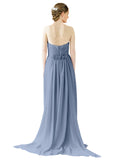 Mila Gowns Emily Long A-Line Sweetheart Chiffon Dusty Blue Bridesmaid Dress Floor Length Open Back Sleeveless 174028