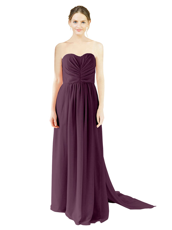 Mila Gowns Emily Long A-Line Sweetheart Chiffon Grape Bridesmaid Dress Floor Length Open Back Sleeveless 174028