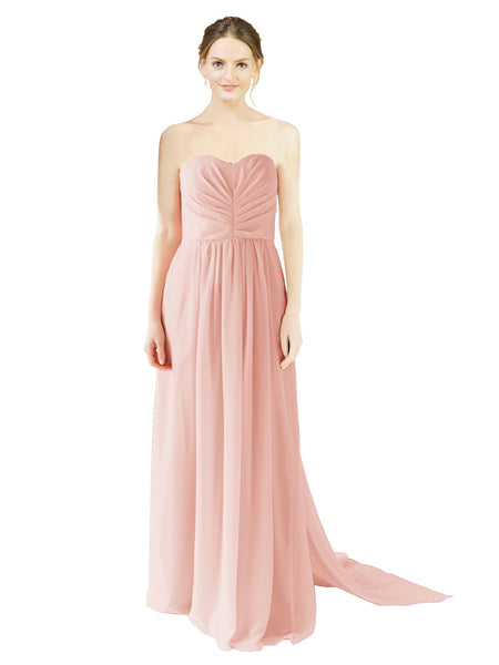 Mila Gowns Emily Long A-Line Sweetheart Chiffon Ice Pink Bridesmaid Dress Floor Length Open Back Sleeveless 174028