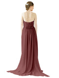 Mila Gowns Emily Long A-Line Sweetheart Chiffon Marsala Bridesmaid Dress Floor Length Open Back Sleeveless 174028