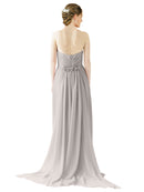 Mila Gowns Emily Long A-Line Sweetheart Chiffon Oyster Silver Bridesmaid Dress Floor Length Open Back Sleeveless 174028