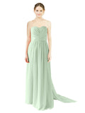 Mila Gowns Emily Long A-Line Sweetheart Chiffon Sage Bridesmaid Dress Floor Length Open Back Sleeveless 174028