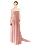 Mila Gowns Emily Long A-Line Sweetheart Chiffon Salmon Bridesmaid Dress Floor Length Open Back Sleeveless 174028