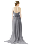 Mila Gowns Emily Long A-Line Sweetheart Chiffon Slate Grey Bridesmaid Dress Floor Length Open Back Sleeveless 174028