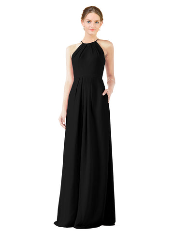 Mila Gowns Emma Long Sheath High Neck Halter Chiffon Black Bridesmaid Dress Floor Length Keyhole Sleeveless 174018