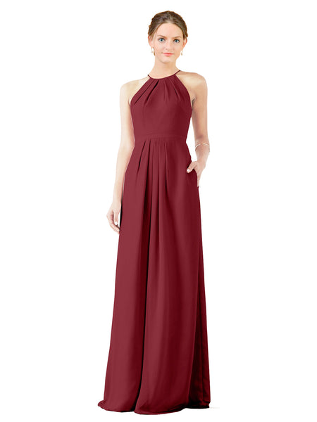 Mila Gowns Emma Long Sheath High Neck Halter Chiffon Burgundy Bridesmaid Dress Floor Length Keyhole Sleeveless 174018