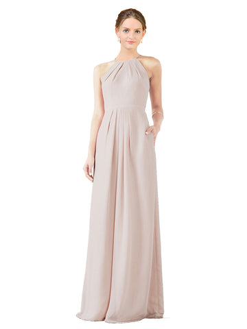 Mila Gowns Emma Long Sheath High Neck Halter Chiffon Champagne 42 Bridesmaid Dress Floor Length Keyhole Sleeveless 174018