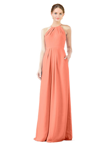 Mila Gowns Emma Long Sheath High Neck Halter Chiffon Coral Bridesmaid Dress Floor Length Keyhole Sleeveless 174018