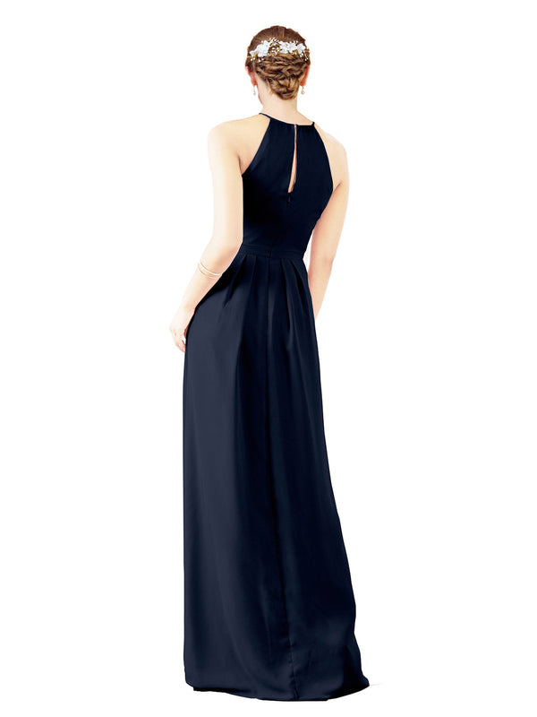 Mila Gowns Emma Long Sheath High Neck Halter Chiffon Dark Navy Bridesmaid Dress Floor Length Keyhole Sleeveless 174018