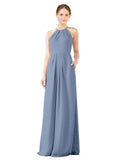 Mila Gowns Emma Long Sheath High Neck Halter Chiffon Dusty Blue Bridesmaid Dress Floor Length Keyhole Sleeveless 174018