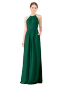 Mila Gowns Emma Long Sheath High Neck Halter Chiffon Ever Green Bridesmaid Dress Floor Length Keyhole Sleeveless 174018